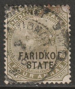 India Faridkot 1887 Sc 8 used staining