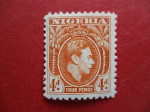 SG54 Nigeria 1938 George VI 4d Orange MM