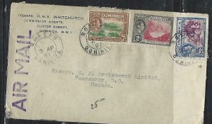 DOMINICA  (P2808B)  1951 KGVI 2D+2 1/2D+7D A/M TO CANADA
