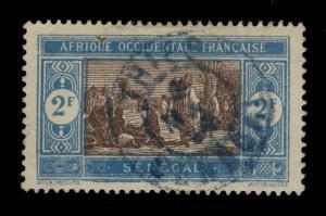 SÉNÉGAL - 1924 - CAD DOUBLE CERCLE THIÈS / SÉNÉGAL EN BLEU SUR N°86