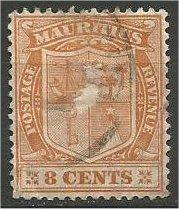MAURITIUS, 1925, used 8p, Coat of Arms, Scott 170