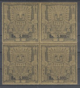 Bolivia Sc 450 MNH, 1960 5,000b gray on gold Prehistoric God, block of 4