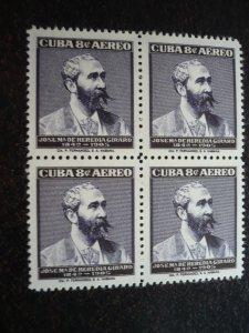 Stamps - Cuba - Scott# C164 - Mint Hinged Block of 4