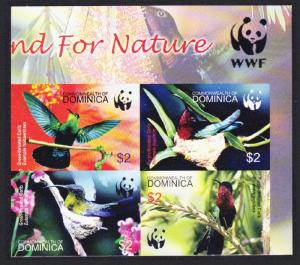 Dominica Birds WWF Caribs Imperf Top Right Block of 4 with WWF Logo SG#3412-3415