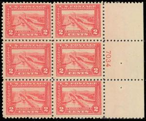 #402 VF+ OG NH GEM PLATE BLOCK OF 6  P.O. FRESH CV $3,250 WLM844