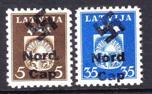 LATVIA 220, 226 NORD CAP OVERPRINTS OG NH U/M VF BEAUTIFUL GUM