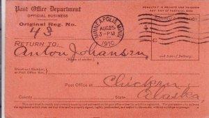 1910, Minneapolis, MN to Chicken, AK, Return Receipt Card, See Remark (31620)