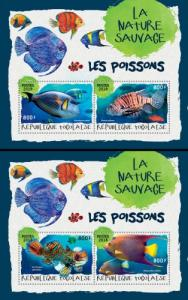 TOGO- 2018 - Fishes 1 - Perf 2 Souv Sheets - MNH