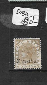 ZANZIBAR  (PP1009B) QV ON INDIA 6A  SG 13A  MOG