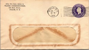 Water Commissioners Nyack NY 1932 3¢ postal stationery commercial window