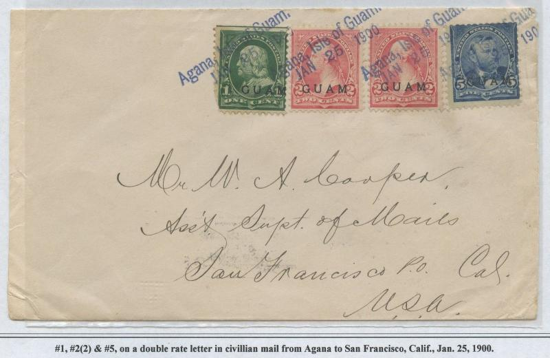 GUAM #1, #2 (2x), #5 ON DOUBLE RATE LETTER JAN 25,1900 CV $600 BS8455 HS108G