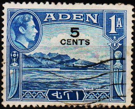 Aden.1951 5c on 1a  S.G.36 Fine Used