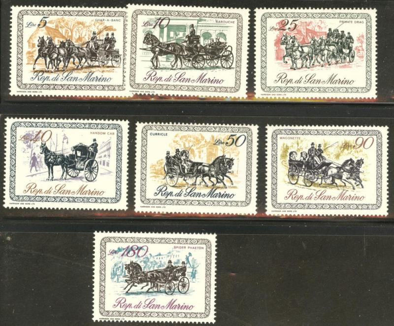 San Marino Scott 703-709 MH* 1969 coach stamp set