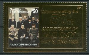 St Vincent & Grenadines 1995 MNH WWII VE Day 1v Gold Stamp Churchill Stamps