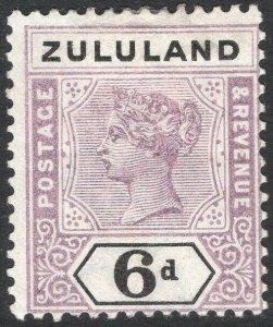 ZULULAND-1894 6d Dull Mauve & Black Sg 24 MOUNTED MINT V50119
