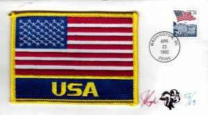 Pugh Designed/Painted USA Flag Patch FDC...56 of 63 created!