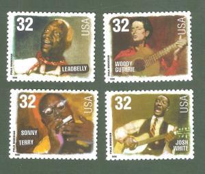 3212-15 Folk Musicians Set Of 4 Mint/nh Free Shipping (A-189)