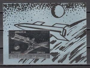 Sharjah, Mi cat. 1057, BL131 B. Apollo 16, Silver Foil, Space s/sheet.