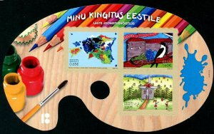 HERRICKSTAMP NEW ISSUES ESTONIA Sc.# 875 Children's Drawing Competition Sheetlet