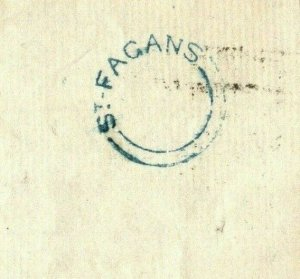 GB WALES Glam Cover SUPERB Blue UDC *ST FAGANS* 1853 Cardiff CDS 1d Red ZA215