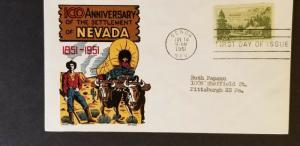 1951 Genoa Nevada Pittsburgh Pennsylvania Ken Boll Cachet Craft First Day Cover