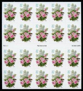 US Scott 3836 Flower 37c Botanical Garden Pane of 20 Mint