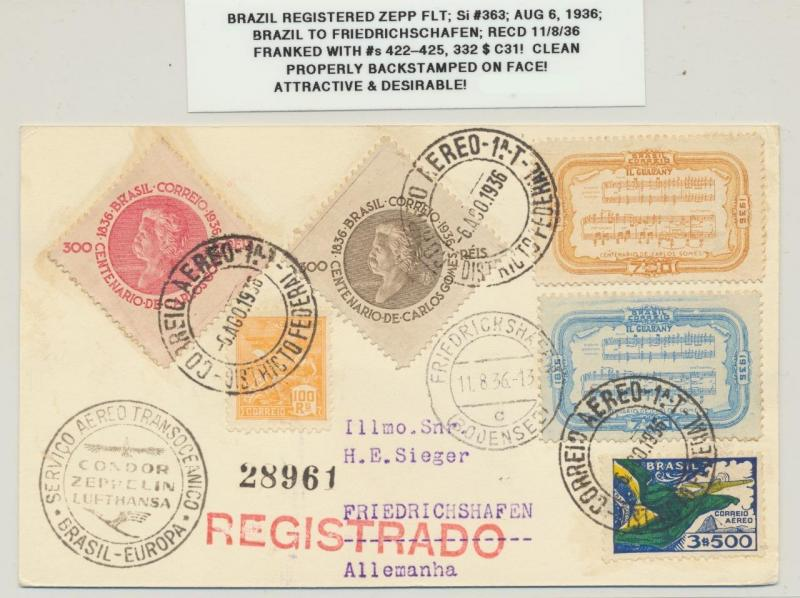 BRAZIL 1936 ZEPPELIN CARD, REGISTERED TO FRIEDRICHSHAFEN Si#363 Sc#422-5+C31