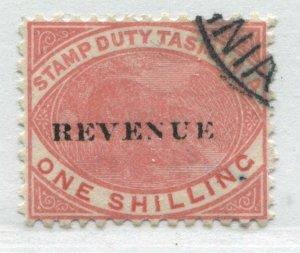 Tasmania 1900 1/ overprinted Revenue Postal Fiscal used