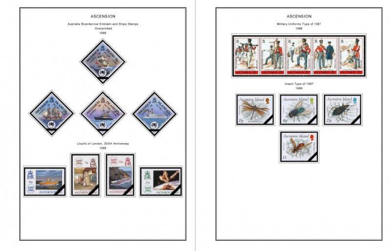 COLOR PRINTED ASCENSION ISLAND 1922-1999 STAMP ALBUM PAGES (104 illustr. pages)