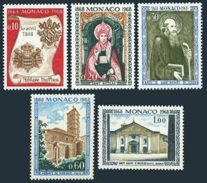 Monaco 684-688,MNH.Michel 891-895. St Nicholas Church,Abbey Nullius,1968.Arms.