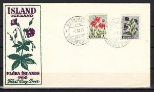 Iceland, Scott cat. 309-310. Various Flowers issue on a First day cover.