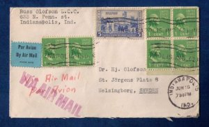 US Sc #904 Block Of Four,Pair Of Two and Sc #789 On A Cover to Sweden F-VF