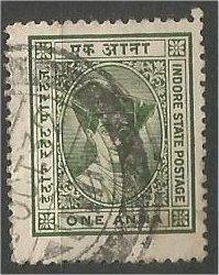INDORE, INDIA, 1928, used 1a, Maharaja Yeshwant Rao II, Scott 17