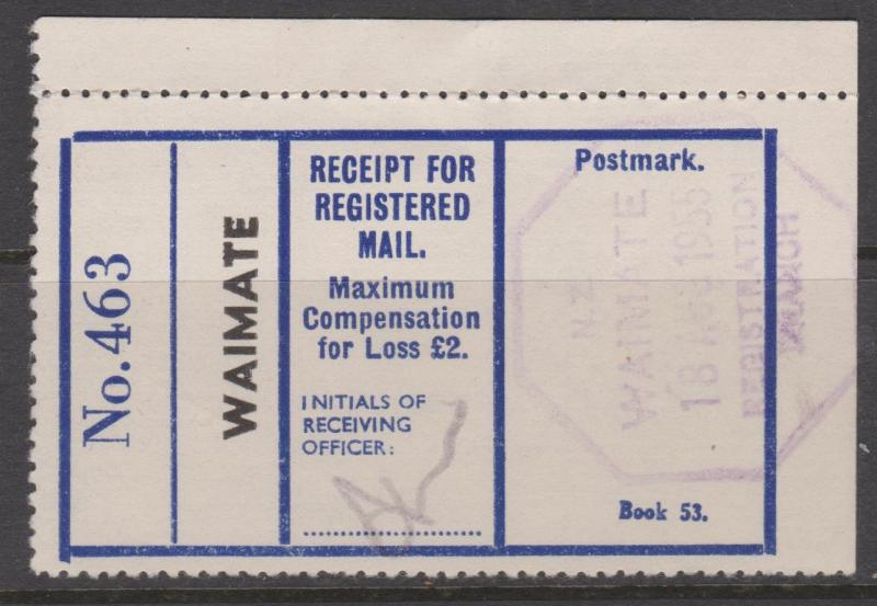 New Zealand 1955 Receipt for Registered Mail Waimate