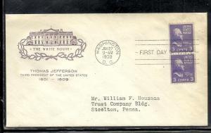 US #851-45 Jefferson HOF cachet addressed