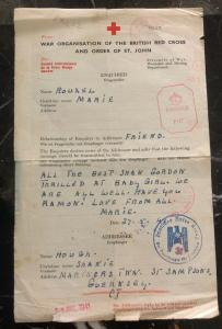 1941 Guernsey Channel Island British Prisoner of War Letter Cover Red Cross POW