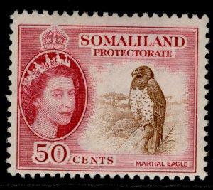SOMALILAND PROTECTORATE QEII SG143, 50c brown & rose-carmine, LH MINT.