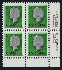 Canada 789 BR Block, Plate 1 MNH Queen Elizabeth