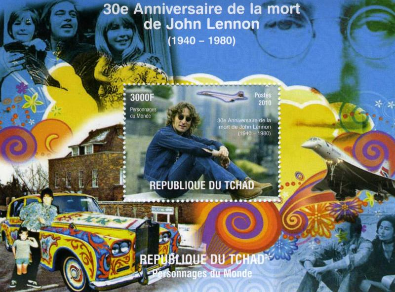 Chad 2010 Concorde-John Lennon-Yoko Ono s/s Perforated mnh.vf