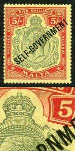 Malta SG113b KGV 5/- Self Govt Variety Broken Crown and Scroll M/Mint