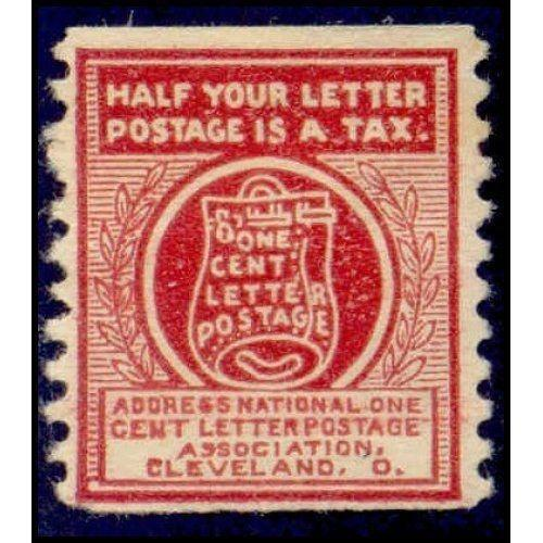 US - National One Cent Letter Postage Association Stamp - Type III (#3)