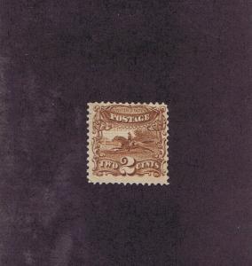 SCOTT# 113 UNUSED OG PH 2 CENT POST HORSE & RIDER, 1869, GRILL, CERT COPY.