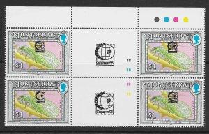 MONTSERRAT SG898 1992 $1 LACEWING SINGAPORE '95 OVPT T/L GUTTER BLOCK OF 4 MNH