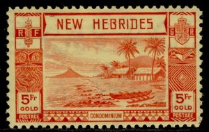 NEW HEBRIDES GVI SG62, 5f red/yellow, M MINT. Cat £75.