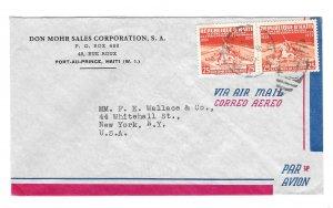 Haiti Airmail Cover Port au Prince 1957 Duplex Cancel to US Sc# 401 25c