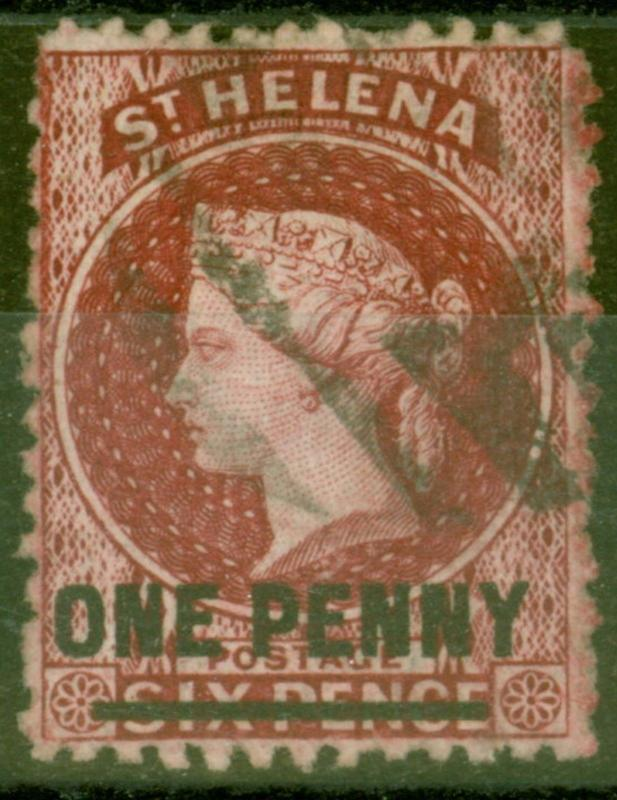St Helena 1868 1d Lake SG7 Type B Fine Used