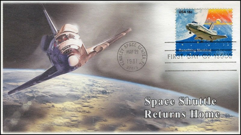AO-1918, 1981, Space, Add-on Cachet, First Day Cover, SC 1918, Space Shuttle
