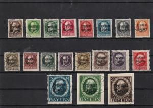 bavaria 1919 used overprint stamps cat £300+ ref 12447
