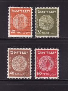 Israel 56-58, 60 U Coins on Stamps