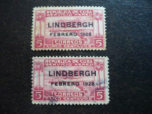 Stamps - Cuba - Scott# C2 - Mint Hinged and Used Overprinted 2 Air mail Stamps